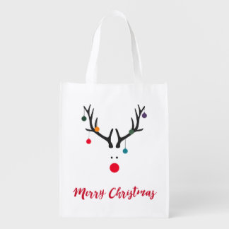 Funny cute minimalist Santa's reindeer on white Reusable Grocery Bag