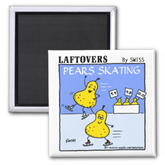 Funny Cute Pears Skating Laftovers Cartoon Square Magnet