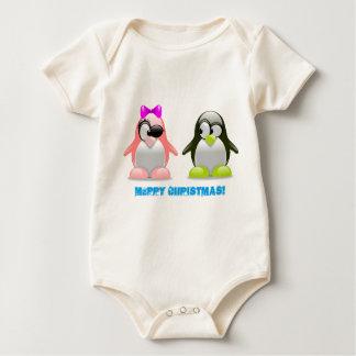 Funny Cute Penguin Couple Baby Bodysuit