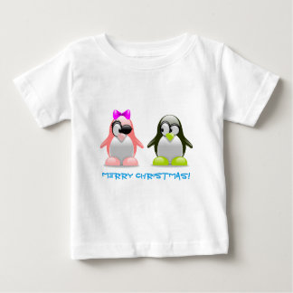 Funny Cute Penguin Couple Baby T-Shirt