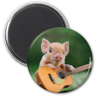 Funny Cute Pig Playing Guitar 6 Cm Round Magnet