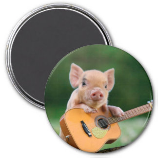 Funny Cute Pig Playing Guitar 7.5 Cm Round Magnet