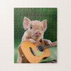 Funny Cute Pig Playing Guitar Jigsaw Puzzle