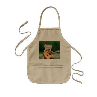 Funny Cute Pig Playing Guitar Kids Apron