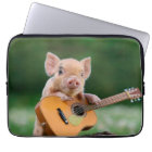 Funny Cute Pig Playing Guitar Laptop Sleeve