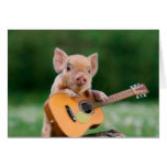 Funny Cute Pig Playing Guitar Note Card