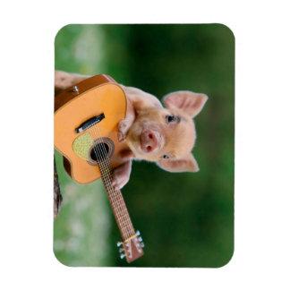 Funny Cute Pig Playing Guitar Rectangular Photo Magnet