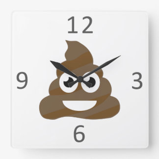 Funny Cute Poop Emoji Square Wall Clock