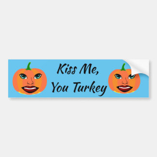 Funny Cute Pumpkin Customizable Bumper Sticker