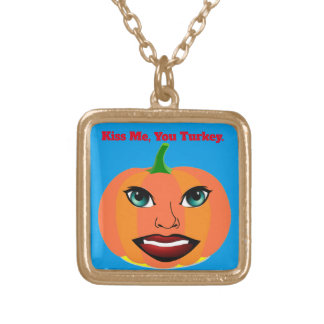 Funny Cute Pumpkin Customizable Gold Plated Necklace