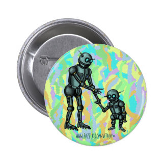 Funny cute robot and robot baby button design