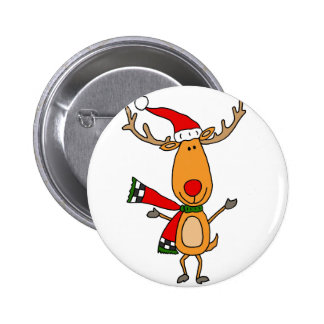 Funny Cute Rudolph Red-Nosed Reindeer 6 Cm Round Badge