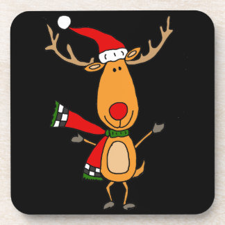 Funny Cute Rudolph Red-Nosed Reindeer Drink Coasters
