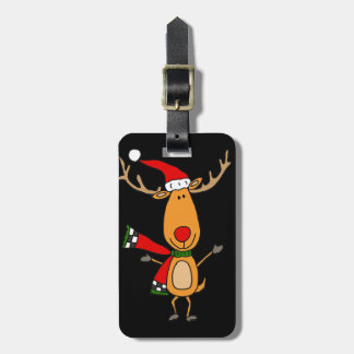 Funny Cute Rudolph Red-Nosed Reindeer Luggage Tag