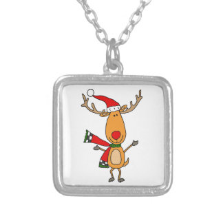Funny Cute Rudolph Red-Nosed Reindeer Silver Plated Necklace