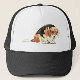 Funny Cute Sad Beagle Watercolour Dog Art Design Cap
