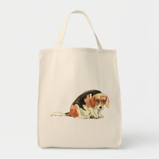 Funny Cute Sad Beagle Watercolour Dog Art Design Tote Bag