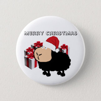 Funny cute Santa cartoon sheep Christmas 6 Cm Round Badge