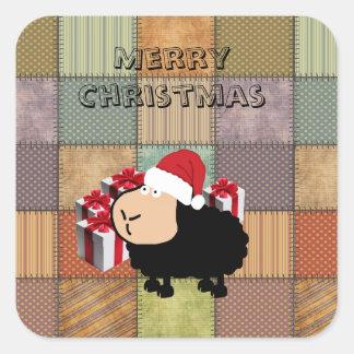 Funny cute Santa cartoon sheep Christmas Square Sticker