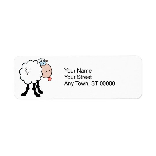 funny cute sheep sticking tongue out from behind return address label