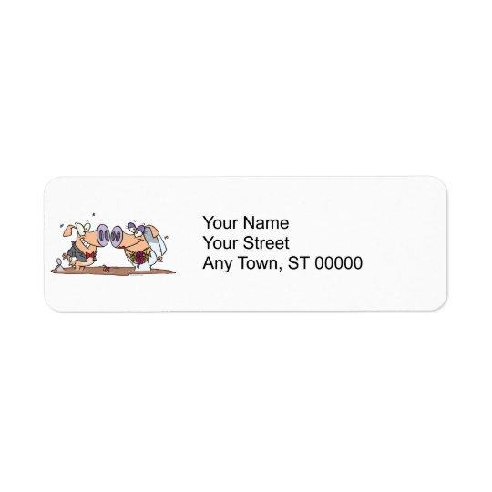 funny cute silly wedding pigs bride groom return address label