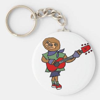 Funny Cute Sloth Playing Guitar Key Ring