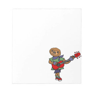 Funny Cute Sloth Playing Guitar Notepad