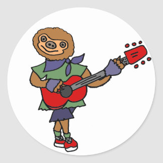 Funny Cute Sloth Playing Guitar Round Sticker