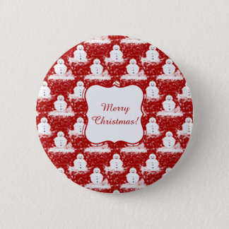 Funny, Cute smiling Snowmans White and Red color 6 Cm Round Badge