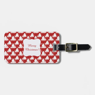 Funny, Cute smiling Snowmans White and Red color. Luggage Tag