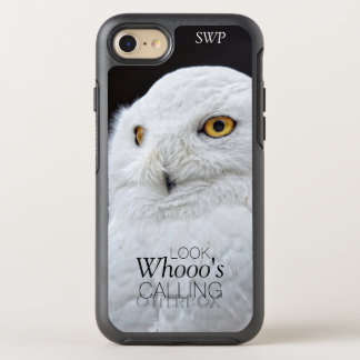 Funny Cute White Snowy Owl with Monogram OtterBox Symmetry iPhone 7 Case