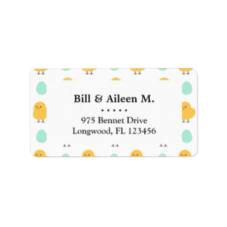 Funny cute yellow chick egg easter illustration address label