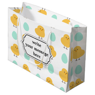 Funny cute yellow chick egg easter illustration large gift bag