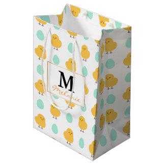 Funny cute yellow chick egg easter illustration medium gift bag