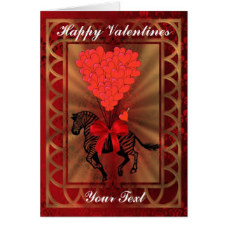 Funny cute zebra and love heart fun valentines day greeting cards