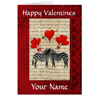 Funny cute zebras valentines day greeting card