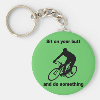 Funny cycling basic round button key ring