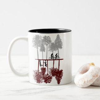 Funny Cyclist Gift - Mirror Style Design-Christmas Two-Tone Coffee Mug
