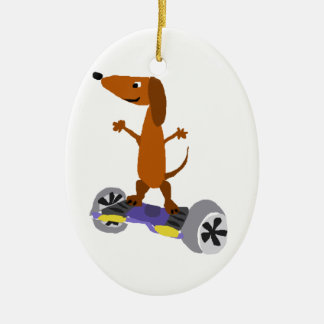 Funny Dachshund Dog on Hoverboard Ceramic Ornament