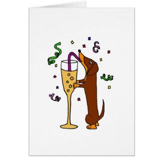 Funny Dachshund Dog Party Cartoon Card