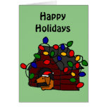 Funny Dachshund in Christmas Doghouse Greeting Card