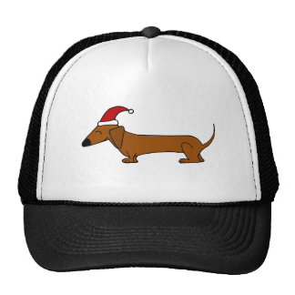 Funny Dachshund in Santa Hat Christmas Cartoon