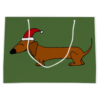 Funny Dachshund in Santa Hat Christmas Gift Bag