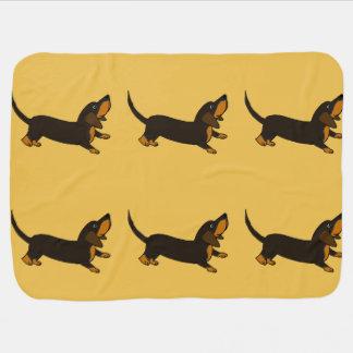 Funny Dachshund Playful Puppy Dog Receiving Blankets