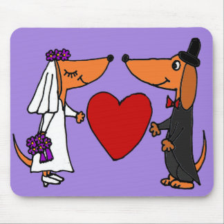 Funny Dachshund Puppy Dogs Bride and Groom Wedding Mousepads