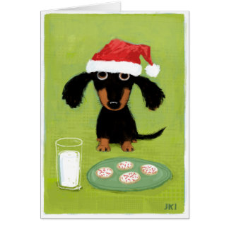 Funny Dachshund Santa with Milk and Cookies Card