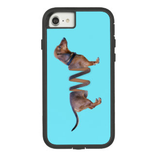 Funny Dachshund Teal Slinky Weiner Dog Humor Case-Mate Tough Extreme iPhone 8/7 Case