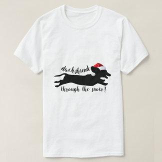 funny dachshund through the snow christmas t shirt