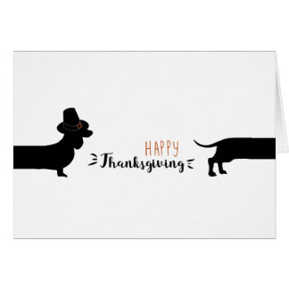 Funny Dachshund with pilgrim hat halloween Card