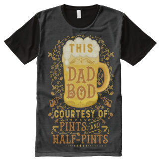 Funny Dad Bod Beer Pints Fathers Day Vintage Humor All-Over Print T-Shirt